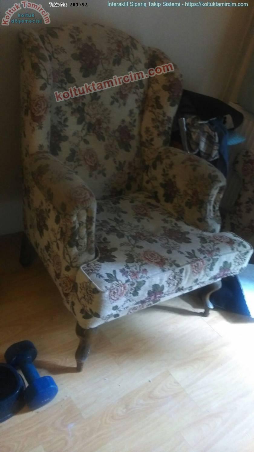 3 adet tekli koltuk ve iki adet puf kumaş değişimi